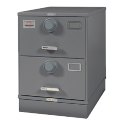 7110-01-563-1694 | Class 5, Two Drawer Multi Lock File Cabinet, Kaba Mas X-10 Gray