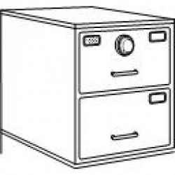 7110-01-614-5441 | Class 5, 2 Drawer Single Lock File Cabinet, S&G 2740B - Parchment