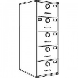 7110-01-029-0389 | Class 6, 5 Drawer Multi-lock file cabinet, Kaba Mas X-10 - Gray