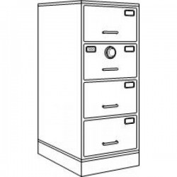 7110-01-050-6060 | Class 6, 4 Drawer Filing Cabinet, Parchment - Kaba Max X-10
