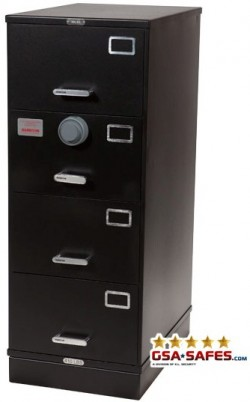 7110-01-015-4266 | Class 6, 4 Drawer File Cabinet, Black - Kaba Mas - X-10