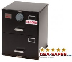 7110-01-015-2850 | Class 5, Two Drawer Single Lock File Cabinet, Kaba Mas X-10 - Black