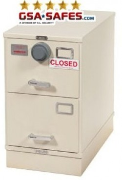 7110-01-012-8739 | Class 5, 2 Drawer Single Lock File Cabinet, Kaba Mas X-10 - Parchment