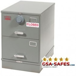 7110-00-082-6111 | Class 5, Two Drawer Single Lock File Cabinet, Kaba Mas X-10 Gray