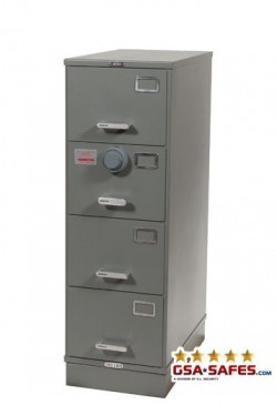 7110-00-082-6112-WPN | Class 5, Four Drawer Single Lock File Cabinet, Gray - Weapons Storage