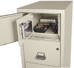 hidden burglary safe in a fireproof file cabinet