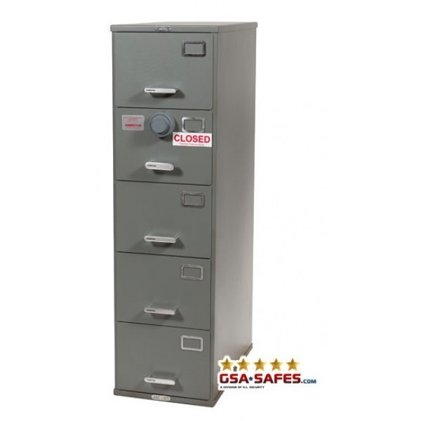 Superior 7110 00 919 9193 | Class 6, 5 Drawer GSA Approved File Cabinet W/ X 10  Lock, Gray